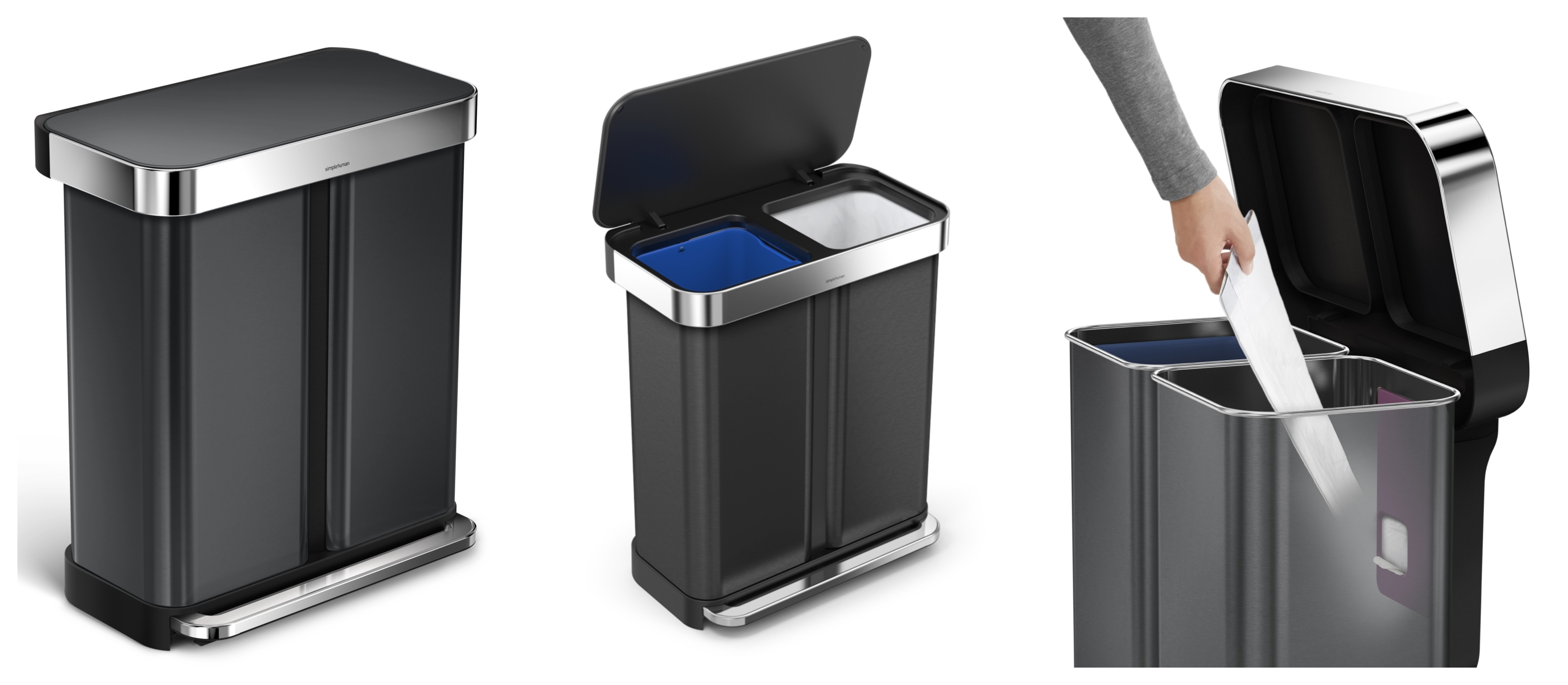 New sleek black steel Simplehuman recycling bin