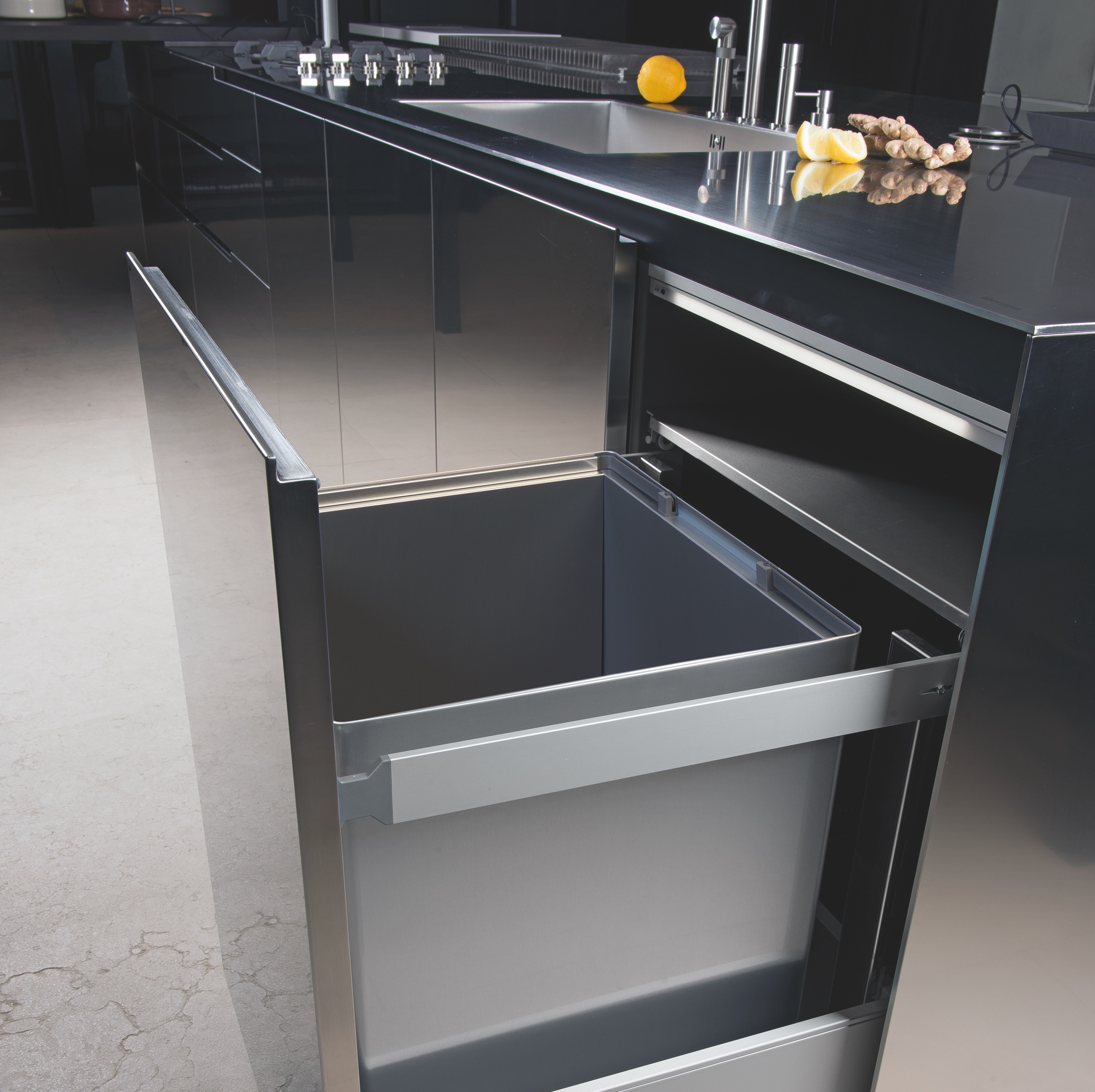 Introducing Tecnoinox pull-out In-cupboard Bins: Superb Italian Styling & Craftsmanship