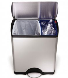 2-Compartment 46L Recycling Pedal Bin Stainless Steel - CW1830