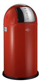 Pushboy Single Compartment 50L Kitchen Bin in Red: 175831-02