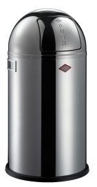 Pushboy Single Compartment 50L Kitchen Bin in Polished Stainless Steel: 175834-41