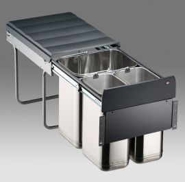 Master Stainless Steel 3 Compartment 40L Recycler - 785WS404-42: 400mm Door