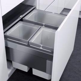 ES-Pro 3-Compartment 46L Recycler - Silver Grey : 500mm Door