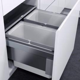 ES-Pro 2-Compartment 56L Recycler - Silver Grey: 600mm Door