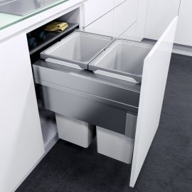 ES-Pro 2-Compartment 64L Recycler - Silver Grey : 500mm Door