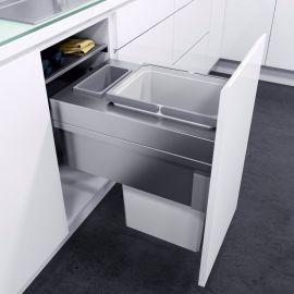 ES-Pro Single Compartment 33.2L In-cupboard Bin - Silver Grey : 400mm Door
