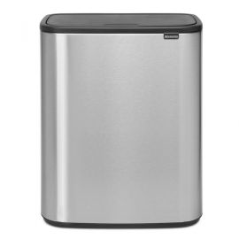 Bo Touch 2-Compartment 60 Litre Recycling Bin - Matt Steel