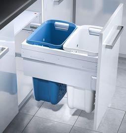 2 Compartment Built in Laundry Bin 66L: 500mm Door
