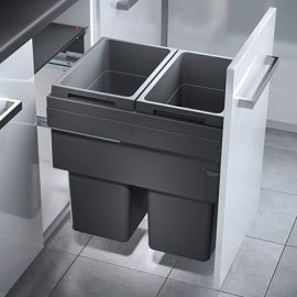 Euro Cargo 2 Compartment 76L Recycler Dark Grey : 450mm Door
