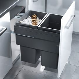 Euro Cargo 2 Compartment 76L Recycler Dark Grey: 500mm Door