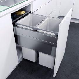 ES-Pro 2-Compartment 70L Recycler - Silver Grey: 450mm Door
