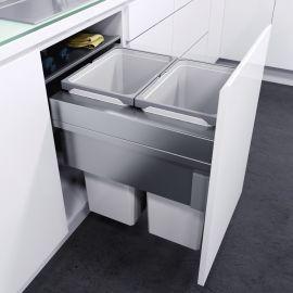 ES-Pro 2-Compartment 70L Recycler - Silver Grey : 500mm Door