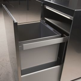 Premium Aluminium Single Compartment 90L  Bin : 600mm Door