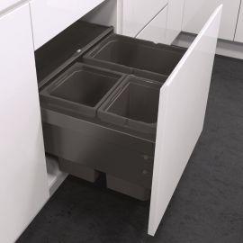 ES-Pro 3-Compartment 46L Recycler - Lava Grey : 500mm Door