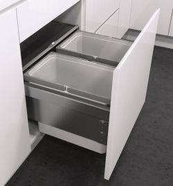 ES-Pro 2-Compartment 42L Recycler - Silver Grey : 450mm Door