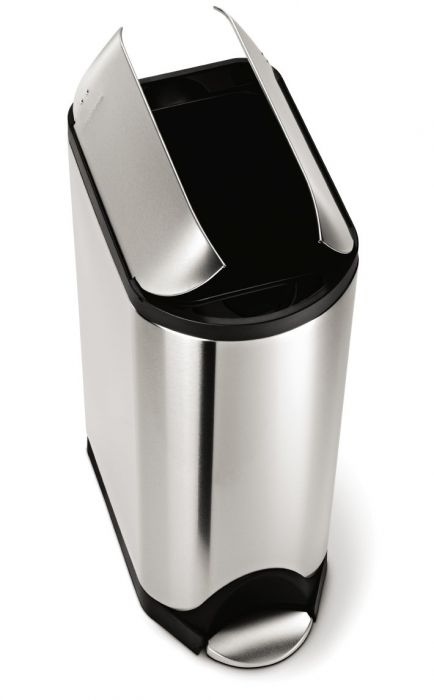 Single Compartment 45L Butterfly Pedal Bin - Stainless Steel - CW1897