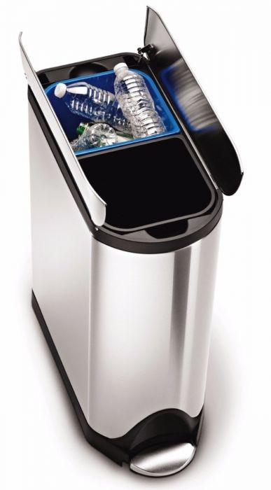 2-Compartment 40L Butterfly Recycling Bin - Stainless Steel - CW2017