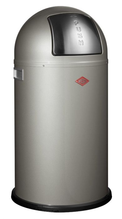 Pushboy Single Compartment 50L Kitchen Bin in New Silver: 175831-03