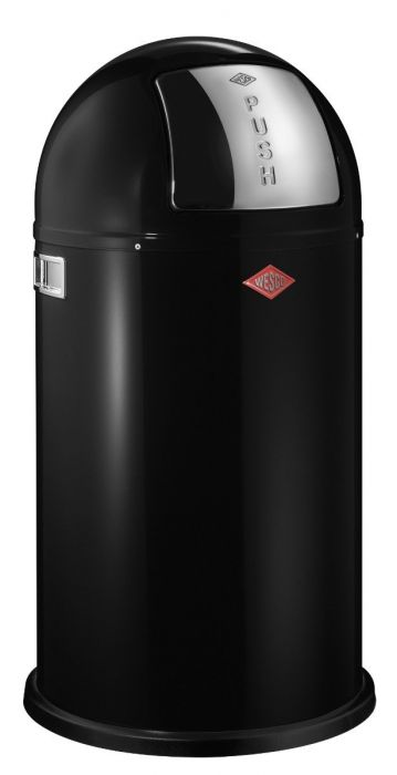 Pushboy Single Compartment 50L Kitchen Bin in Black: 175831-62