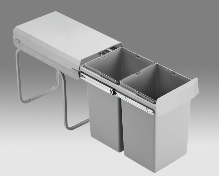 Double Boy Compact 2 Compartment 30L Recycling Bin 755WS601-85: 300mm Door