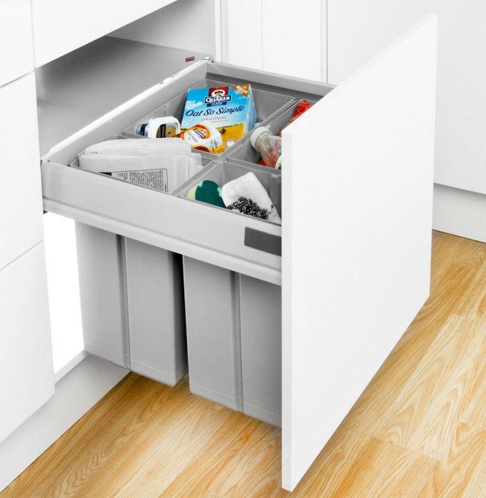 Pullboy-Z 60L 4-Compartment Recycler 827WS608-11: 600mm Door