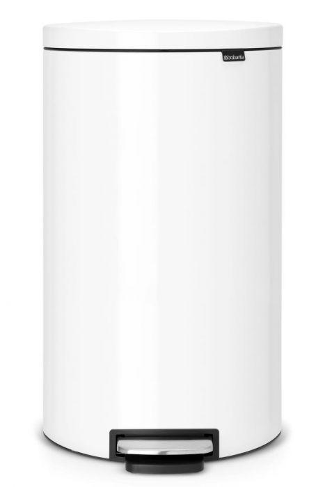 Flatback Single Compartment 30L Kitchen Pedal Bin: White - 485206
