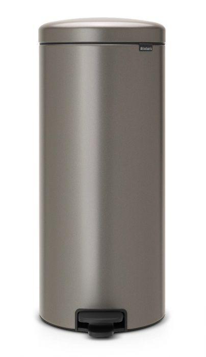 New Icon Single Compartment 30L Kitchen Pedal Bin - Platinum - 114441