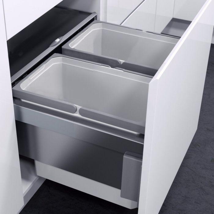 ES-Pro 2-Compartment 49L Recycler - Silver Grey : 500mm Door
