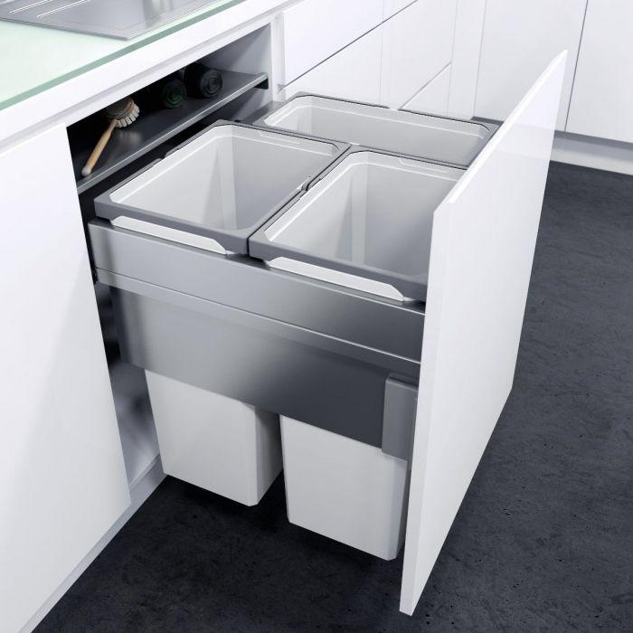 ES-Pro 3-Compartment 85L Recycler : 600mm Door - Silver Grey