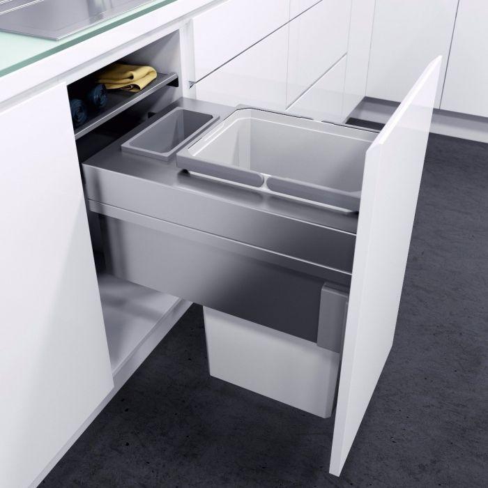 ES-Pro Single Compartment 36.2L In-cupboard Bin - Silver Grey : 400mm Door