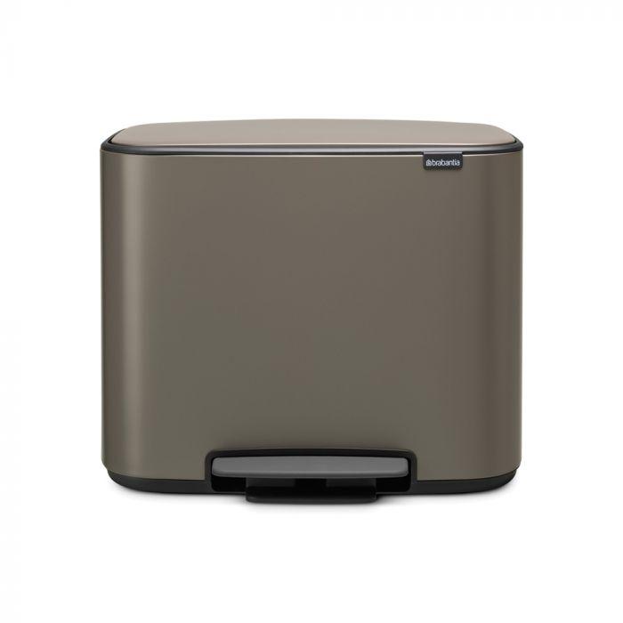 Bo Pedal 3-Compartment 33L Kitchen Recycling Bin - Platinum: 121067