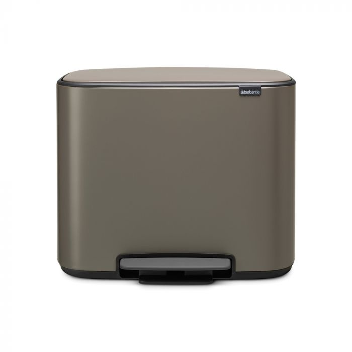 Bo Pedal 2-Compartment 34L Kitchen Recycling Bin - Platinum: 121203