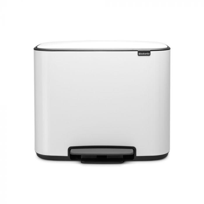 Bo Pedal 2-Compartment 34L Kitchen Recycling Bin - White: 121142
