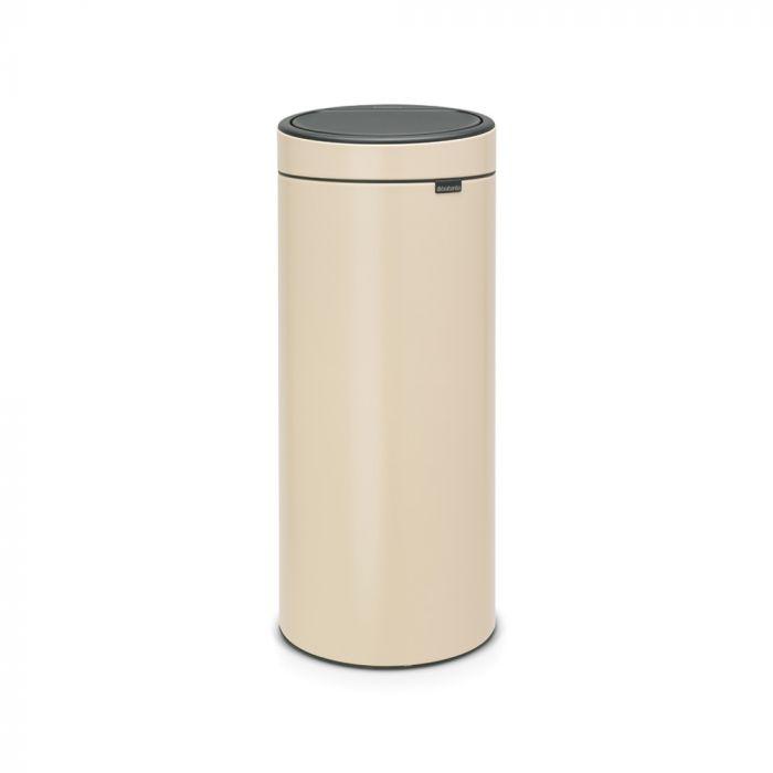 Single Compartment 30L Round Touch Bin Almond - 115042