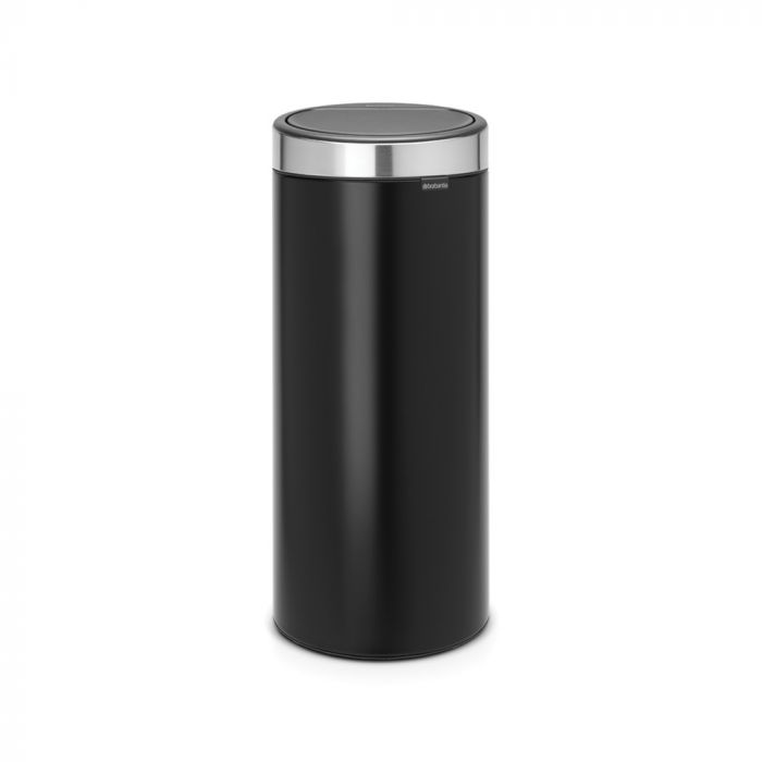 Single Compartment 30L Round Touch Bin Matt Black - 115448