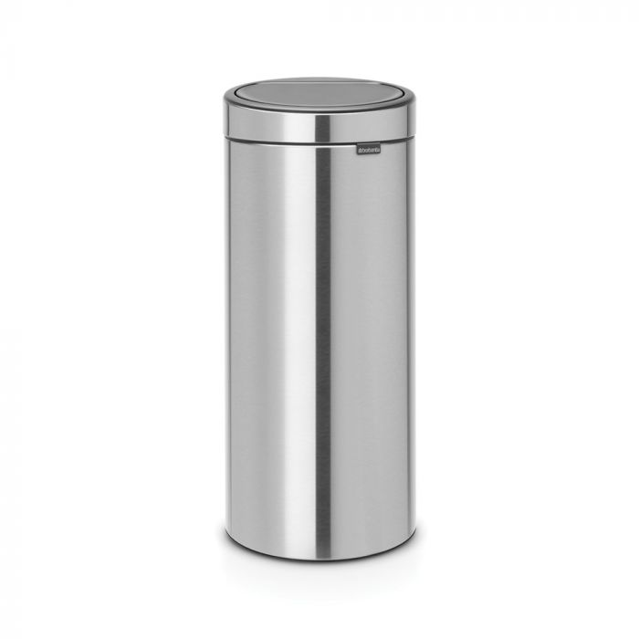 Single Compartment Round 30L Touch Bin - Matt Steel Fingerprint Proof  - 115462