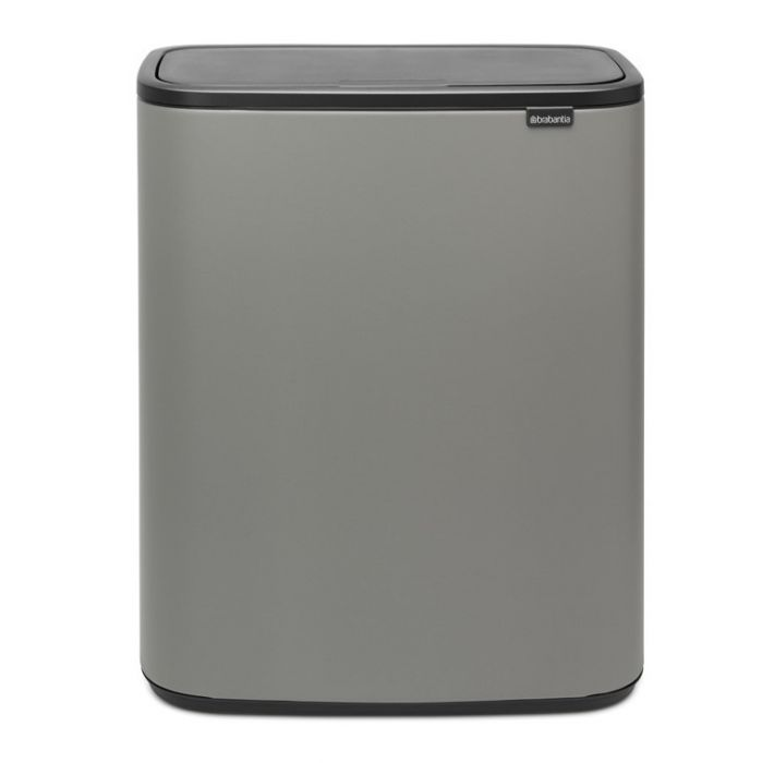 Bo Touch 2-Compartment 60 Litre Recycling Bin - Concrete Grey
