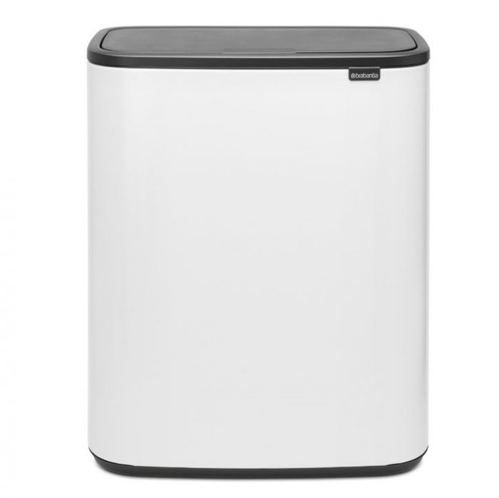 Bo Touch 2-Compartment 60 Litre Recycling Bin - White