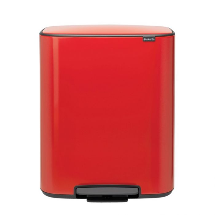 Bo Pedal 60 Litre 2-Compartment Recycling Bin - Passion Red