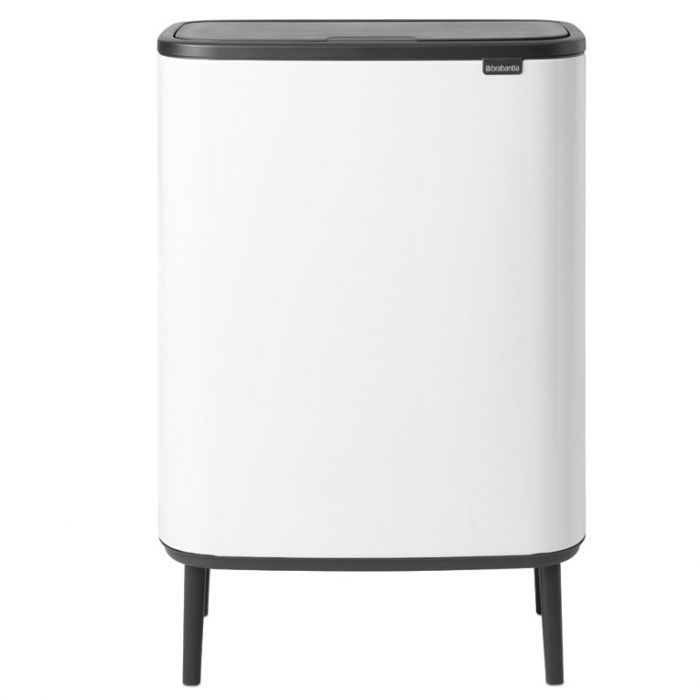 Bo Hi Touch 2-Compartment 60 Litre Recycling Bin - White