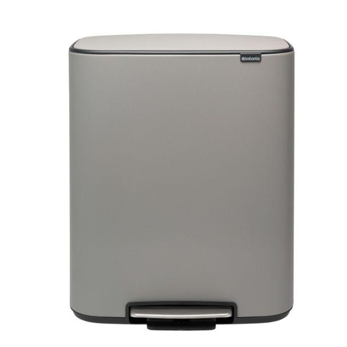 Bo Pedal 2-Compartment 60 Litre Recycling Bin - Concrete Grey