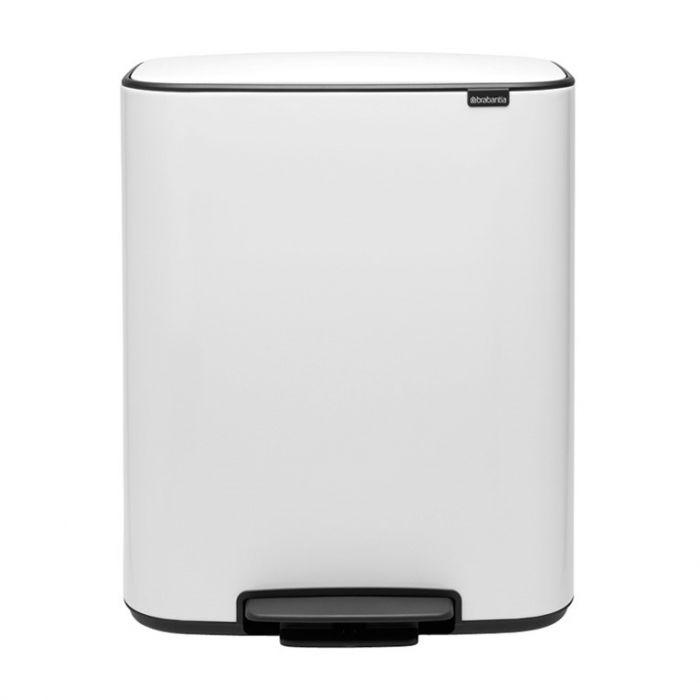Bo Pedal 2-Compartment 60 Litre Recycling Bin - White