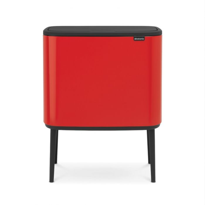 Bo Touch 3-Compartment 33L Kitchen Recycling Bin - Passion Red