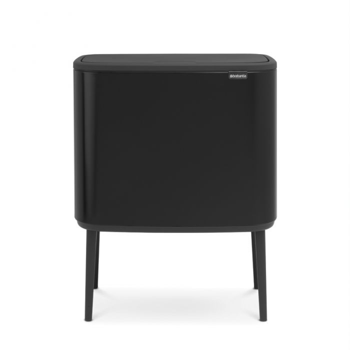 Bo Touch 3-Compartment 33L Kitchen Recycling Bin - Black