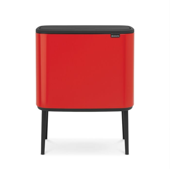 Bo Touch 2-Compartment 34L Kitchen Recycling Bin - Passion Red