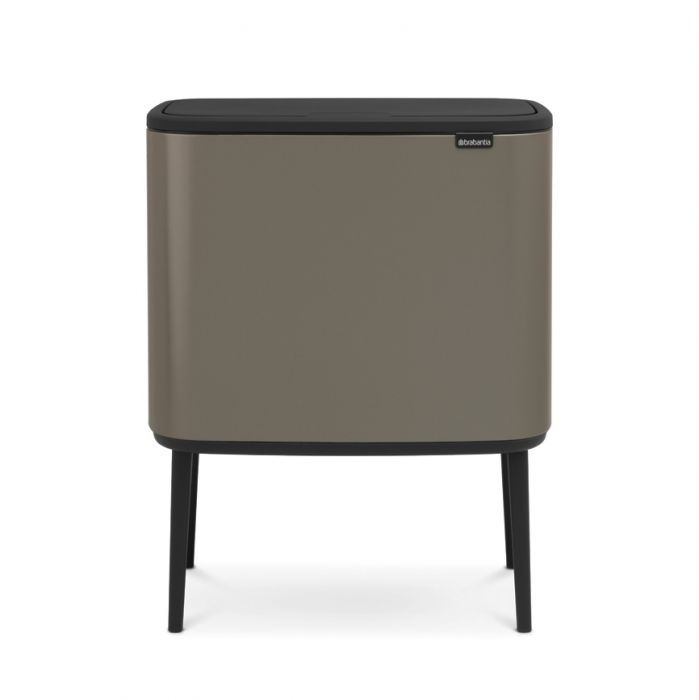 Bo Touch 2-Compartment 34L Kitchen Recycling Bin - Platinum