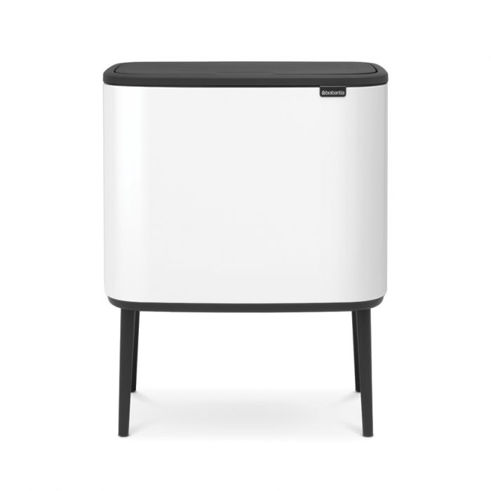 Bo Touch 2-Compartment 34L Kitchen Recycling Bin - White