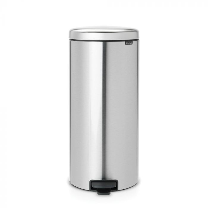 New Icon Single Compartment 30L Kitchen Pedal Bin Matt Steel Fingerprint Proof - 111822