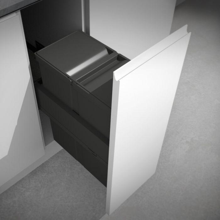 Linea 580 Plus Single Compartment 40L In-cupboard Bin : 300mm Door