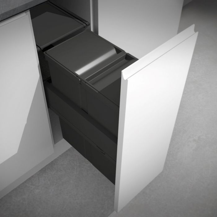 Linea 580 Plus Single Compartment 40L In-cupboard Bin - WITH OVERALL LID : 300mm Door
